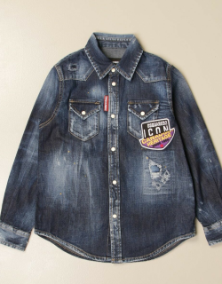 Dsquared2 Junior denim shirt with Icon patch