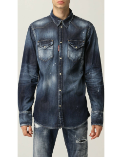 Dsquared2 shirt in washed cotton denim