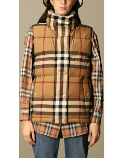 Burberry gilet down jacket in check cotton flannel