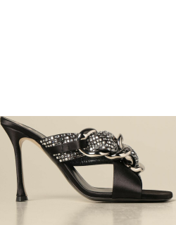 Heeled sandals N ° 21 in satin with chain and crystal