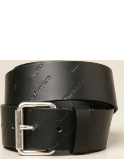 Diesel leather belt with all over logo