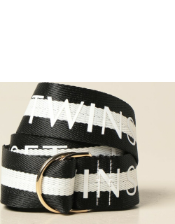 Twinset belt in striped canvas with logo