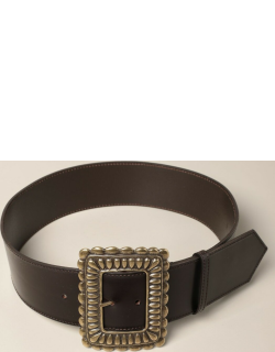 Etro leather belt with maxi buckle
