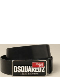 Dsquared2 leather belt with big buckle