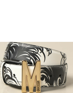 Moschino Boutique patterned belt with big M monogram