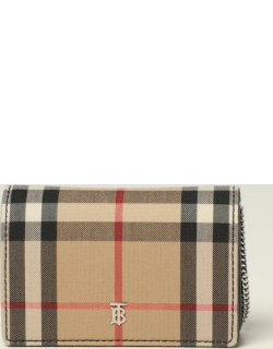 Burberry shoulder card holder in check canvas