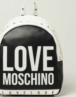 Love Moschino backpack in bicolor synthetic leather with logo