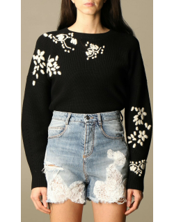 Ermanno Scervino pullover in cotton with floral embroidery