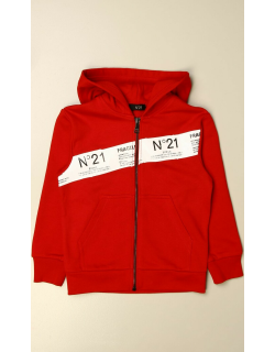 N ° 21 hooded jumper in cotton with logoed band