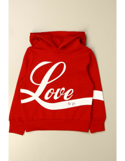 N ° 21 hooded jumper in cotton with Love print