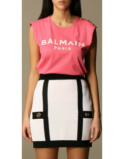 Balmain cotton Tshirt with logo and buttons