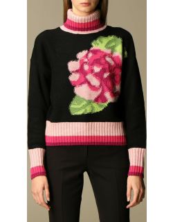 Twinset pullover with floral embroidery