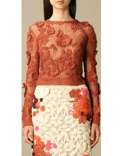 Valentino crewneck pullover in knit and macramé