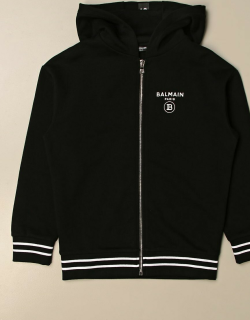 Balmain hooded jumper in cotton with logo