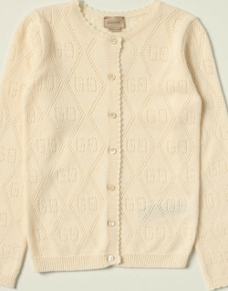 Gucci cardigan in wool with all over perforated GG motif