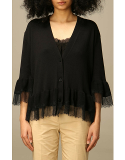 Twinset top cardigan in cotton and lace knit