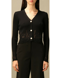 Pinko ribbed vneck cardigan with breaks
