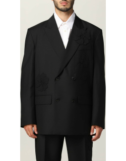 Doublebreasted jacket Men's Garden Valentino in mohair wool with flowers
