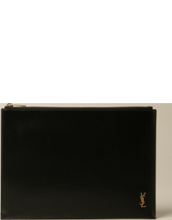 Saint Laurent clutch bag in leather with YSL logo