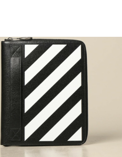 Off White document holder in saffiano leather with diagonal print