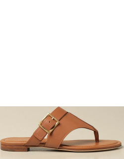 Tod's flat sandal in leather with metal buckle