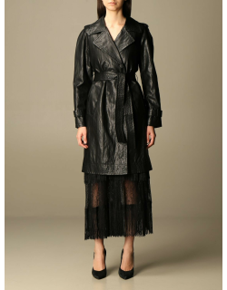 Twinset trench coat in synthetic leather with belt