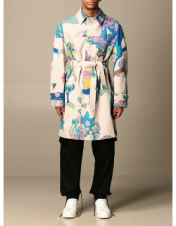 Gcds trench coat in cotton with rick & morty print