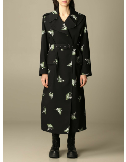 Red Valentino trench coat in virgin wool gabardine with lily embroidery