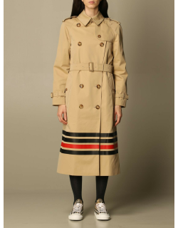 Burberry trench coat in cotton gabardine with striped detail