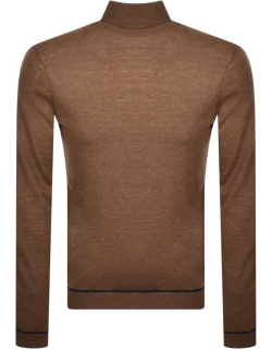 Ted Baker Exarno Roll Neck Knit Jumper Brown