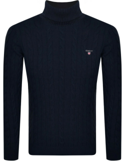 Gant Roll Neck Cable Knit Jumper Navy