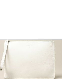 Patrizia Pepe clutch bag in hammered leather with logo