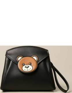 Moschino Couture leather clutch bag with Teddy