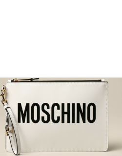 Moschino Couture leather clutch bag with logo