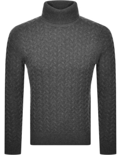 Michael Kors Roll Neck Cable Knit Jumper Grey