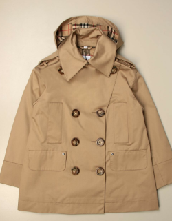 Burberry doublebreasted trench coat with hood