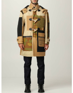 Dsquared2 camouflage patchwork coat