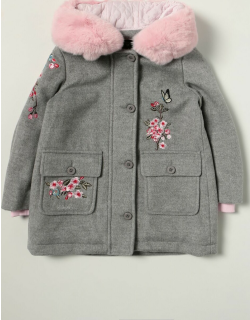 Monnalisa coat with floral embroidery