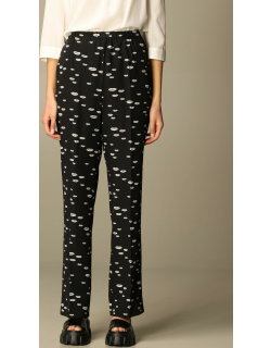 Prada trousers in crêpe de chine with mouth pattern