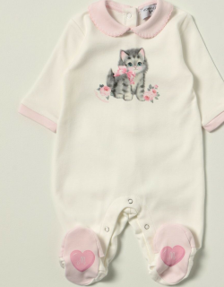Monnalisa footed jumpsuit with cat print