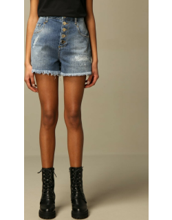 Pinko denim shorts with jewel buttons