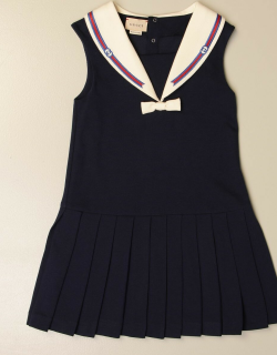 Gucci cotton dress with collar and logo