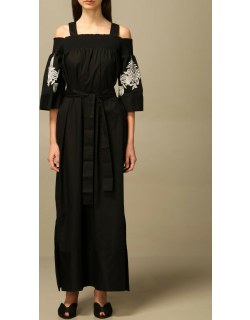 Twinset long dress in poplin with lace details