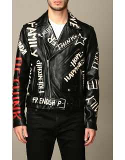 Golden Goose leather jacket with all over logo
