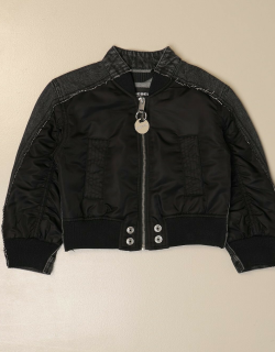 Cropped bomber jacket in denim and nylon with zip