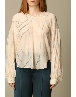 Alysi blouse in printed cotton and silk