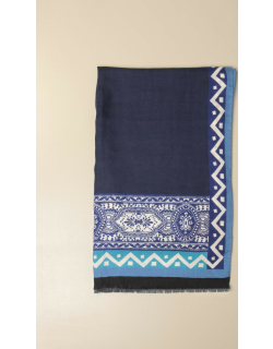 Etro scarf in silk and cashmere with ethnic pattern