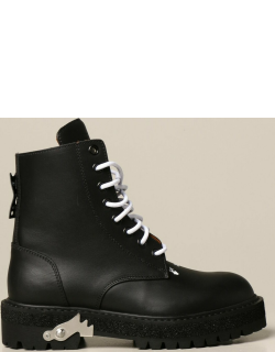Off White laceup ankle boots in leather