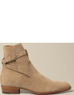 Saint Laurent ankle boot in suede with straps