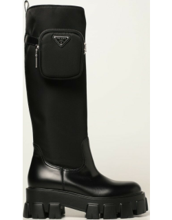 Monolith Prada boots in brushed leather and Renylon